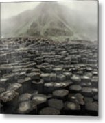 Hexagon Stones And A Mountain In The Morning Fog Metal Print