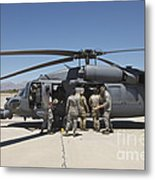 Hh-60g Pave Hawk With Pararescuemen Metal Print
