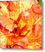 Hibiscus And Bees Metal Print