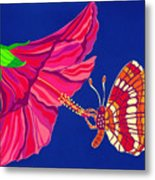 Hibiscus And Butterfly Metal Print