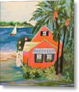 Hibiscus Beach House Metal Print