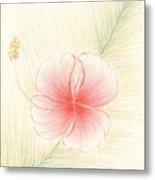 Hibiscus On Palm  Metal Print