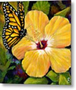 Hibiscus With Monarch Metal Print