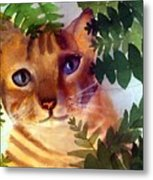 Hide And Seek Cat Metal Print