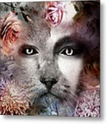 Hiding Catlady Metal Print