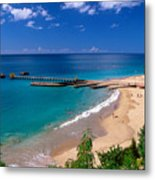 High Angle View Of A Pier On Crashboat Beach Puerto Rico. Metal Print