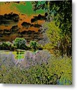 High Contrast River Sunset Metal Print