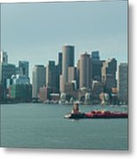 High Resolution Panoramic Of Downtown Boston During The Day Metal Print