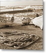 High Tide In Sennen Cove Sepia Metal Print