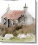 Highland Cottage In The Mist Metal Print