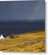 Highland Cottage With Rainbow Applecross Metal Print