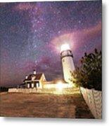 Highland Light Truro Massachusetts Cape Cod Starry Sky Shadow Yard Metal Print