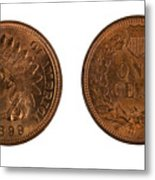 Highly Graded American Indian Head Cents On White Background  Metal Print
