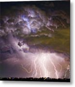 Highway 52 Storm Cell - Two And Half Minutes Lightning Strikes Metal Print