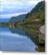 Highway Light Trails On Columbia River Gorge Metal Print