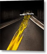 Highway Lines Dance At Night Metal Print