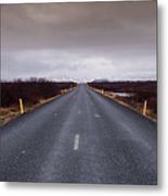 Highway Straight Road Leading To The Snowy Mountains Metal Print