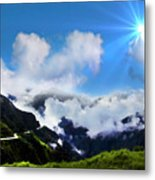 Highway Through The Andes - Painting Metal Print