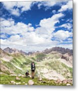 Hiker And Dog Metal Print
