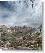Hiker At Twin Lakes - Chicago Basin - Weminuche Wilderness - Colorado Metal Print