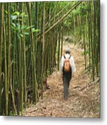 Hiker In Bamboo Forest Metal Print