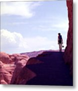 Hiker In Silhouette Metal Print