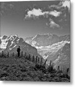 Hiker In The Alps Metal Print