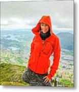 Hiker Woman In Norway Metal Print
