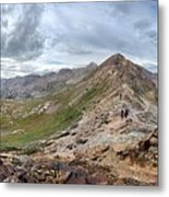 Hikers On Columbine Pass - Weminuche Wilderness - Colorado Metal Print