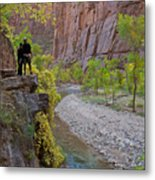 Hikers Zion National Park Metal Print