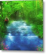 Hiking At The Rivers Edge Metal Print