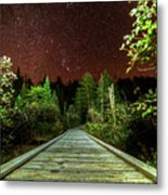 Hiking Into The Night Adirondack Log Keene Valley Ny New York Metal Print