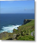 Hiking Path Along The Top Of The Cliff's Of Moher Metal Print
