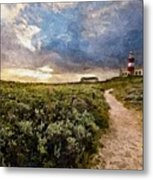 Hill Road To A Lighthouse H A Metal Print