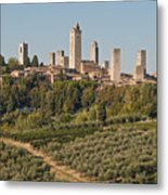 Hill Town Of San Gimignano Metal Print
