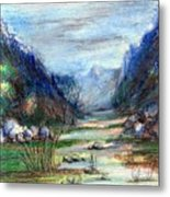 Hills mountain and a stream Metal Print