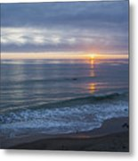 Hills Of Clouds With Ocean Sunset Metal Print