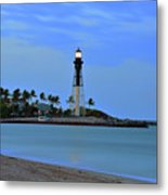 Hillsboro Lighthouse Twilight Time Metal Print