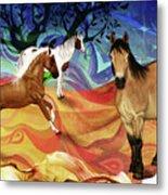 Hillside Horses Metal Print