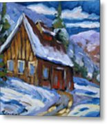 Hillsidebarn In Winter Metal Print