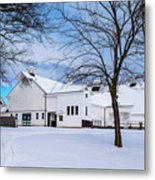 Hilltip Farm In Snow Metal Print