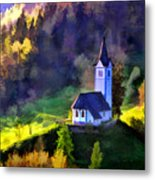 Hilltop Church In Misty Mountain Forest Metal Print
