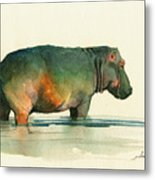 Hippo Watercolor Painting Metal Print