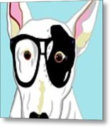 Hipster Bull Terrier Metal Print