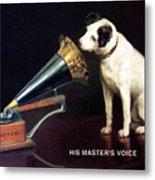 His Master's Voice - Hmv - Dog And Gramophone - Vintage Advertising Poster Metal Print