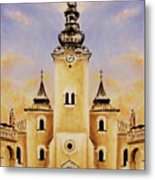 Historic Church And Town Square, Graphic Work From Painting. Metal Print