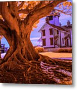 Historic Fermin Point Lighthouse In Infrared Metal Print