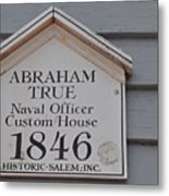 Historic Salem Naval Officer Metal Print