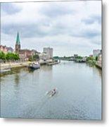 Historic Town Of Bremen And Weser River Metal Print