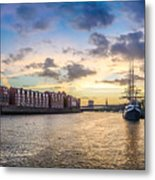 Historic Town Of Bremen With Weser River Metal Print